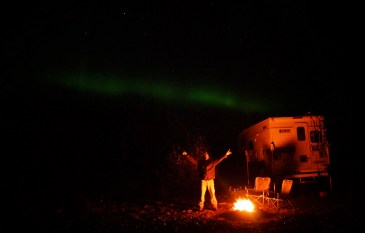 Northern lights & a campfire