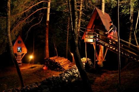 Casette del Tree Village di notte