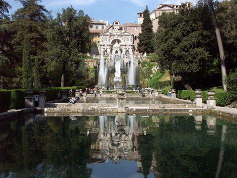 Roma con i bambini Tivoli,_Villa_d'Este,_Querachse_mit_Neptunbrunnen_und_Wasserorgel_2