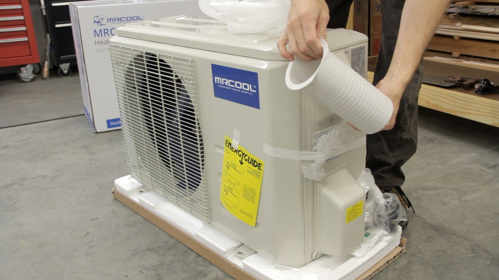 medium resolution of the second box contains the indoor unit which is mounted to an interior wall connected to it is a set of refrigerant lines and a power line that are run
