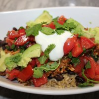 Healthy Burrito Bowl with Easy Pico de Gallo Salsa