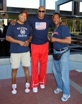 Bernard Harris (center) with Gerald Lee Sr. (right) and Ervin Latimer (photo credit Gerald Lee Jr.).