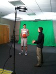 Michael Gilmore prepares for the green screen