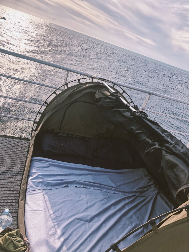 Picture of our tent on the deck of the pontoon, on The Great Barrier Reef.