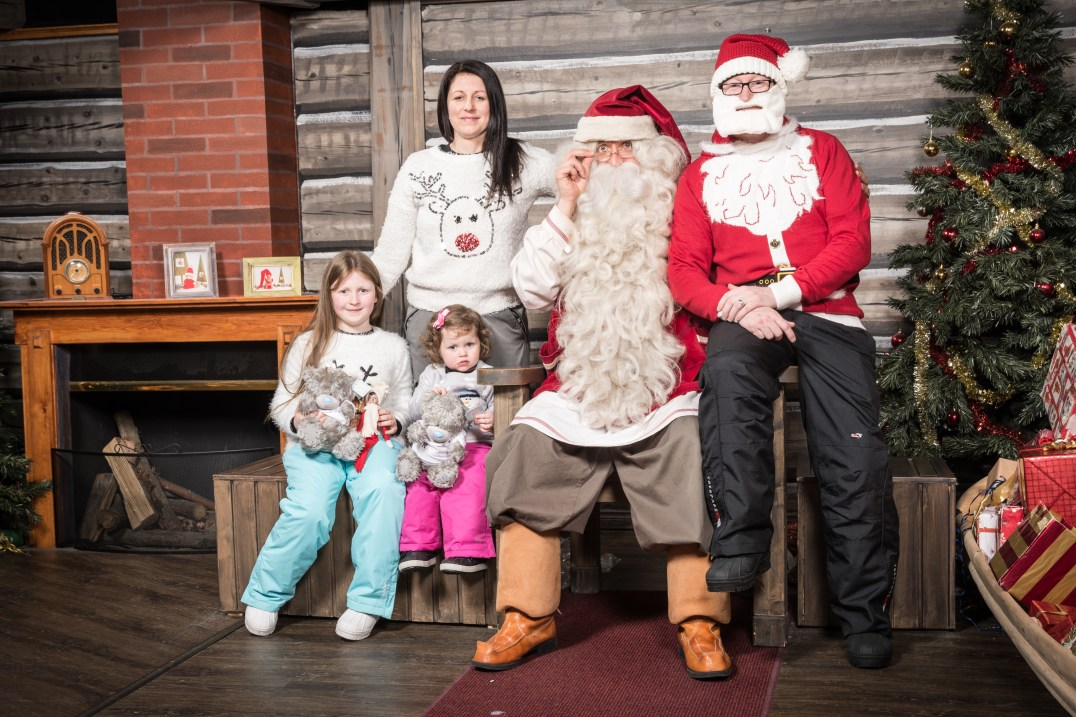 The Callaghan Posse meet Santa Claus at the Santa Claus Holiday Village in Rovaniemi, Finland