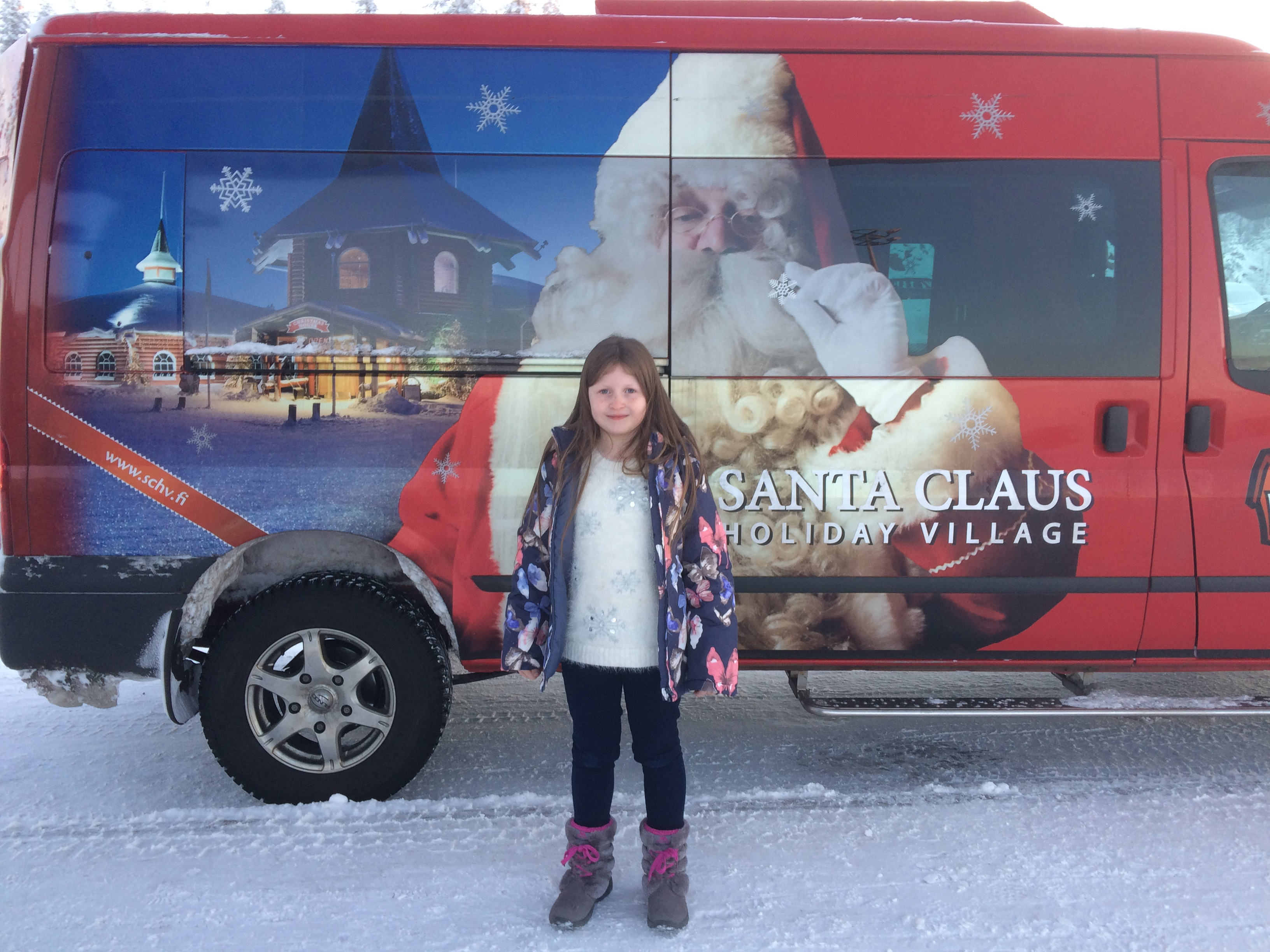 Santa's Airport transfer bus from the Santa Claus Holiday Village in Rovaniemi, Finland