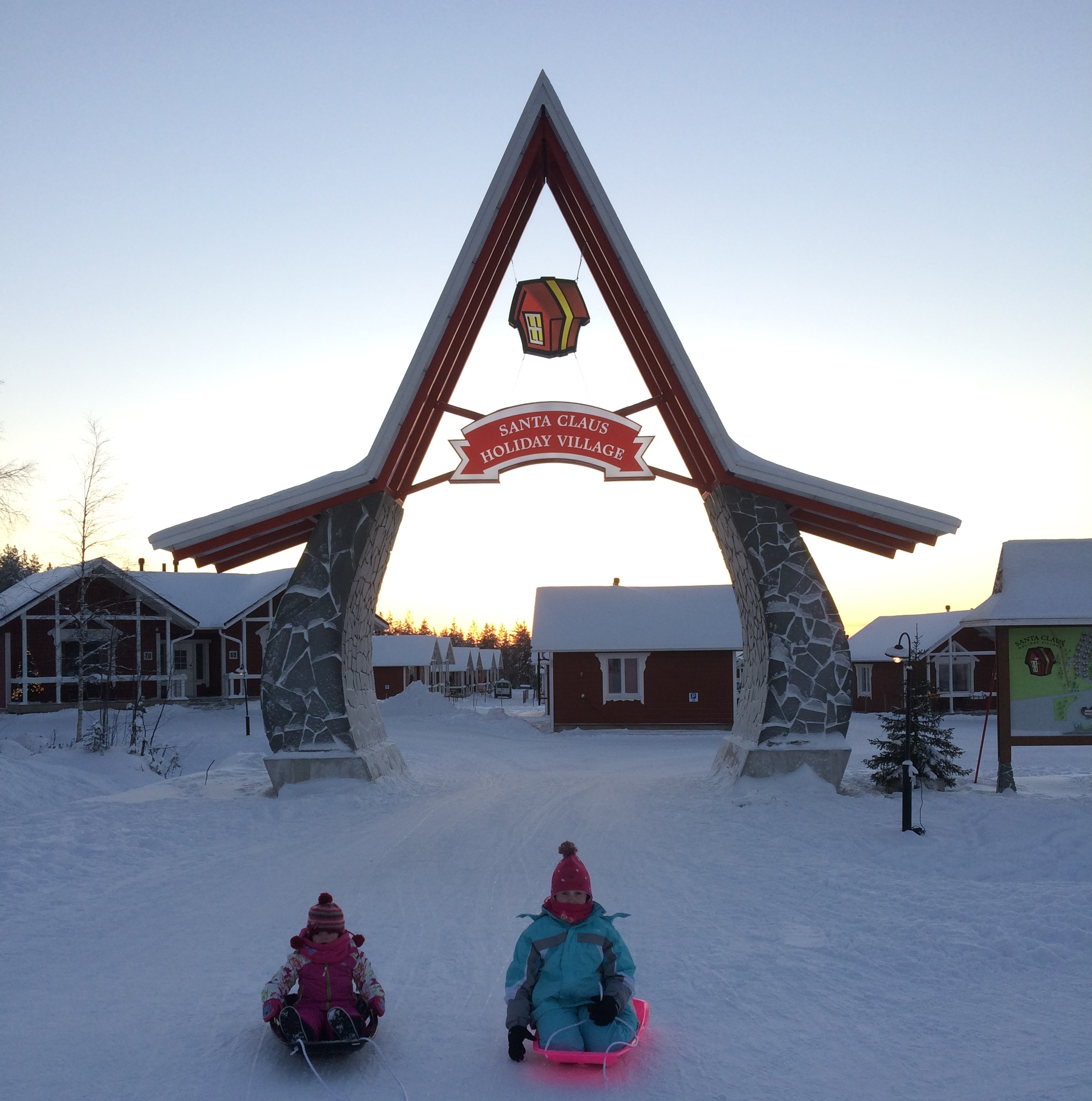 Archway leading to the chalets at the Santa Claus Holida Village in Rovaniemi, Finland