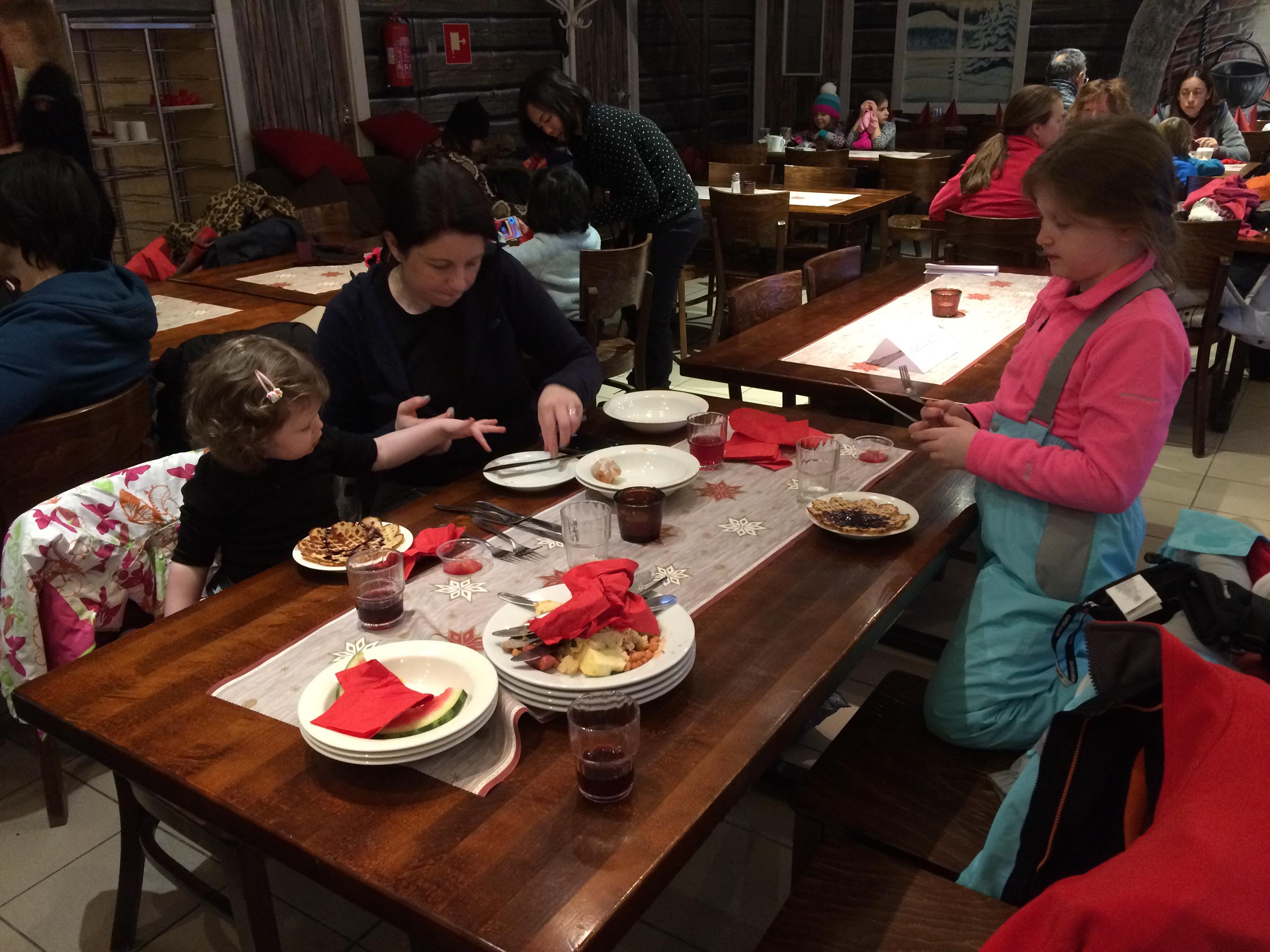 Breakfast at Santa Claus Holiday Village in Rovaniemi, Finland