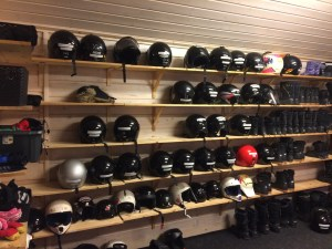 Helmets of all shapes and sizes at Snowmobile Park, Rovaiemi, Lapland