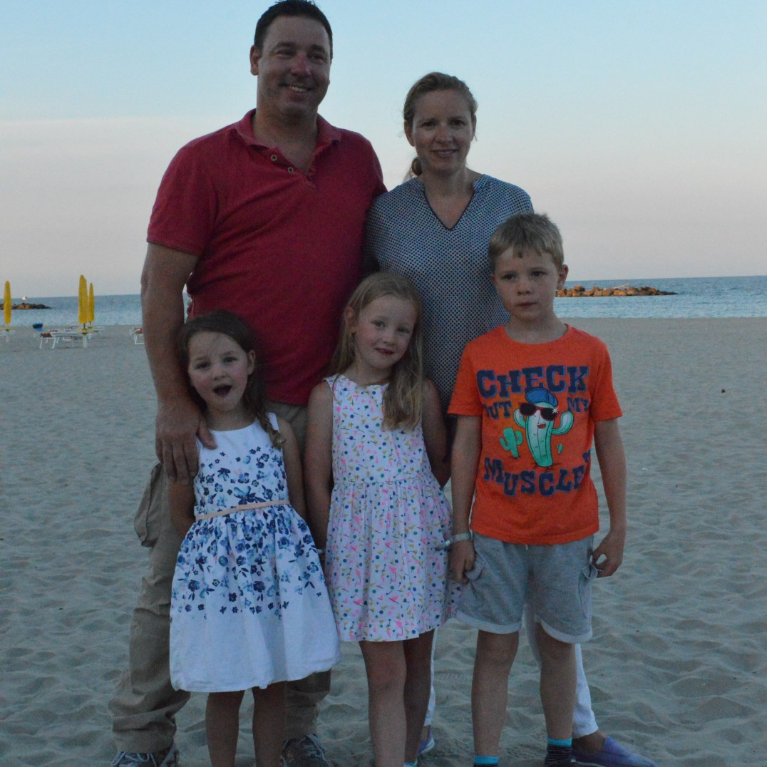 The Jaksic Family enjoy beach time at Spiaggia e Mare Holiday Park, Italy