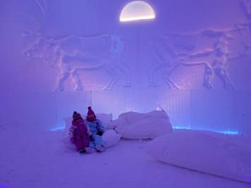 Relaxing at the Laplandia Ice Bar in Santa Claus Village, Rovaniemi
