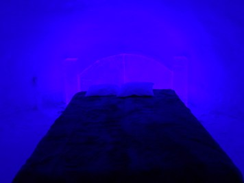 Blue room at the Ice Hotel in Rovaniemi, Lapland