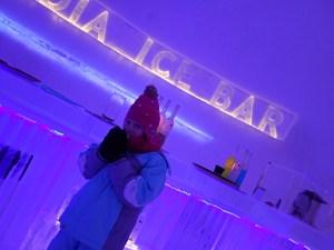 Lily-Belle enjoying Glögi at the Laplandia Ice Bar in Rovaniemi, Finland