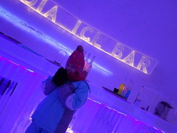 Lily-Belle enjoying Glögi at the Laplandia Ice Bar in Rovaniemi, Finland