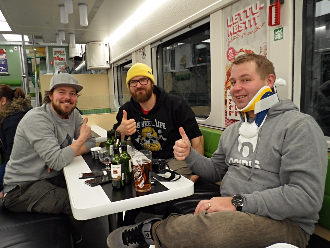 Aki, Niki and Sauli on board the Santa Claus Express heading for Helsinki