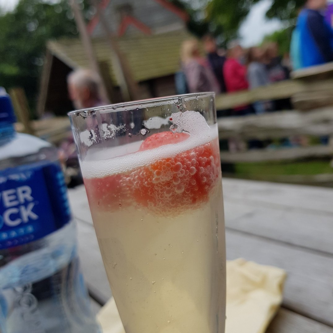 Prosecco and strawberries at the 26th Annual Bluegrass Festival in Omagh