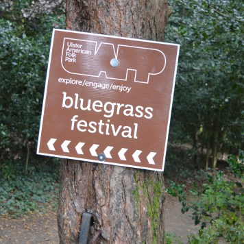 Signs for the 26th Annual Bluegrass Festival at the Ulster American Folk Park in Omagh