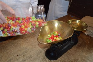 Weighing sweets at W.G. O'Doherty sweet shop at the Ulster American Folk Park and Museum