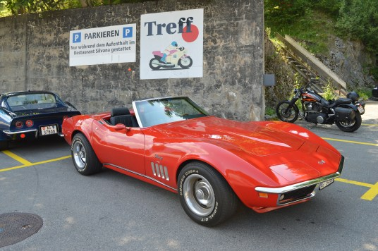 Red Convertible Corvette Stingray in Switzerland