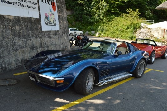 Blue Corvette Stingray in Switzerland