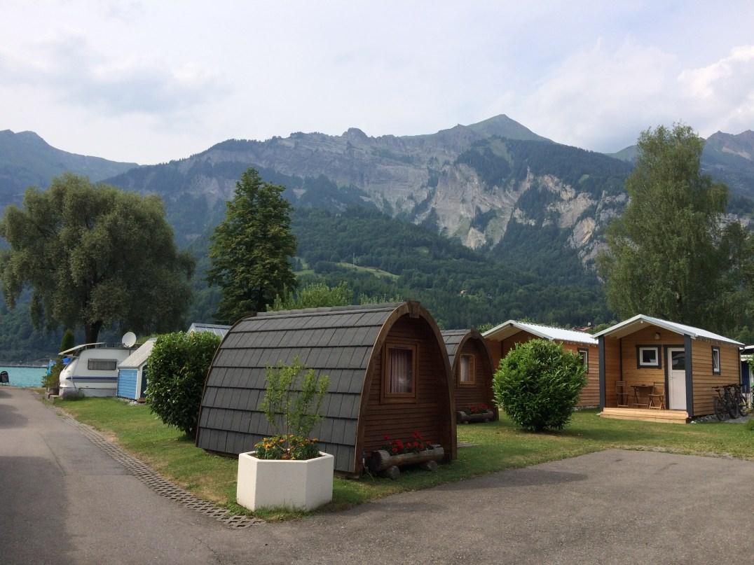 Shepherds hut and amazing alpine scenery at Camping Aaregg in Switzerland