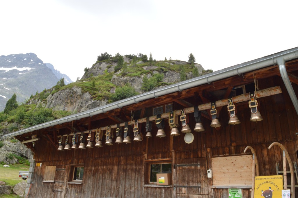 Cow Bells hanging outside a chalet in the Swiss Alps