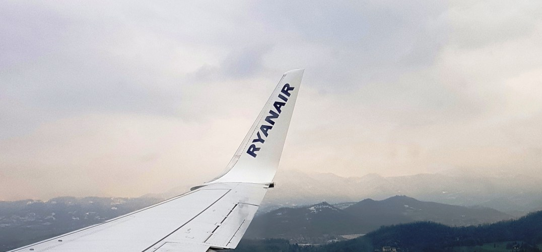 Ryainair flight over the Italian Dolomites