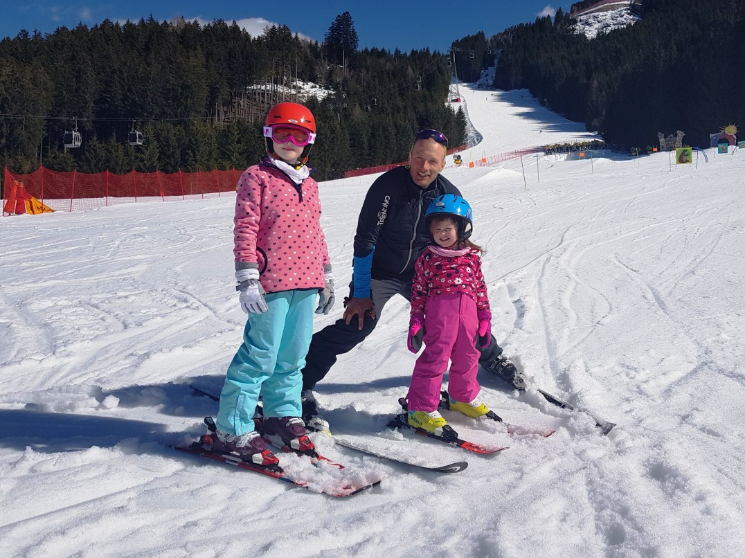 Lily-Belle, Matilda and Alessandro from Alpe Cermis Ski School in Cavalese