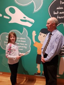 Lily-Belle prepares to interview Dr Mike Simms, Curator of the Ulster Museum, Belfast