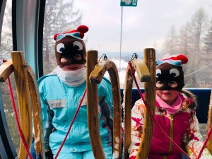 Bruno the Bear twins on the cable car at Obereggen