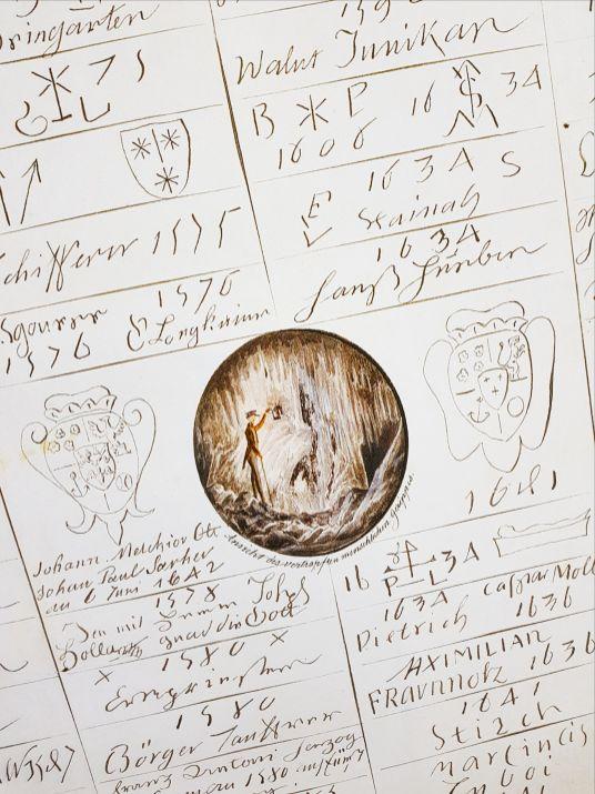 Signatures found inside Postojna Cave