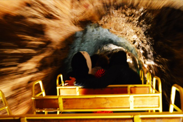 Double track railway inside Postojna Cave