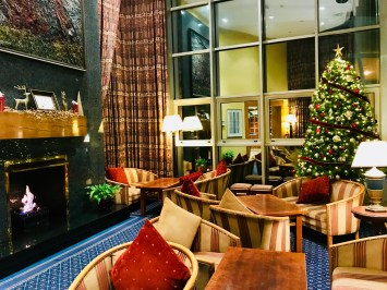Hotel Westport lounge area with a roaring fire