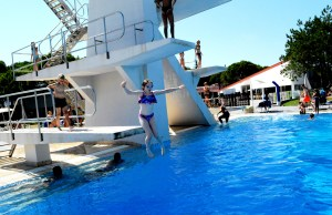 Diving off the boards at Marina Julia Camping Village