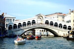 Rialto Bridge which crosses over the Grand Canal in Venice
