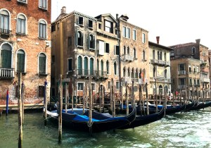 A row of gondolas in Venice