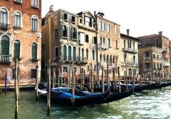 A row of gondolas in Venice
