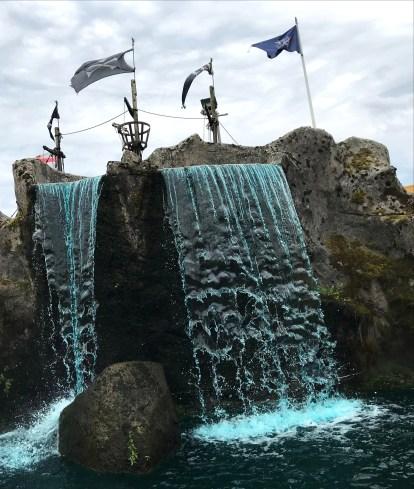 Cascading waterfalls at Pirates Adventure Golf, Dundonald