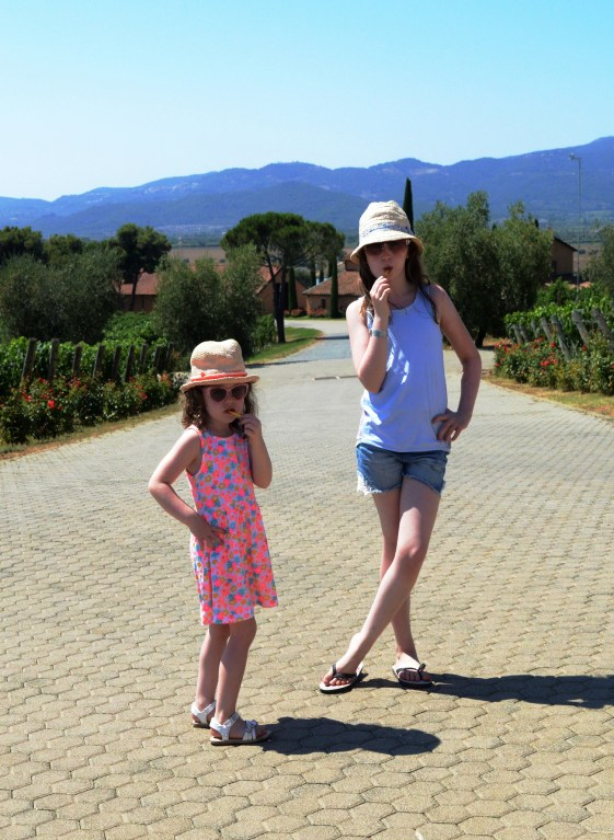 Lily-Belle and Matilda at Petra Winery in Tuscany