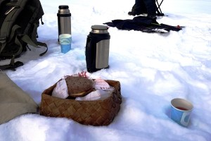 Lunch at Ruka Lake in Finland
