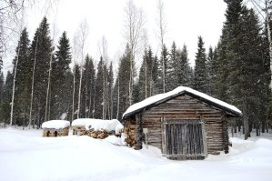Stocked woodshed at A Cosy Cottage by the River in Rovaniemi