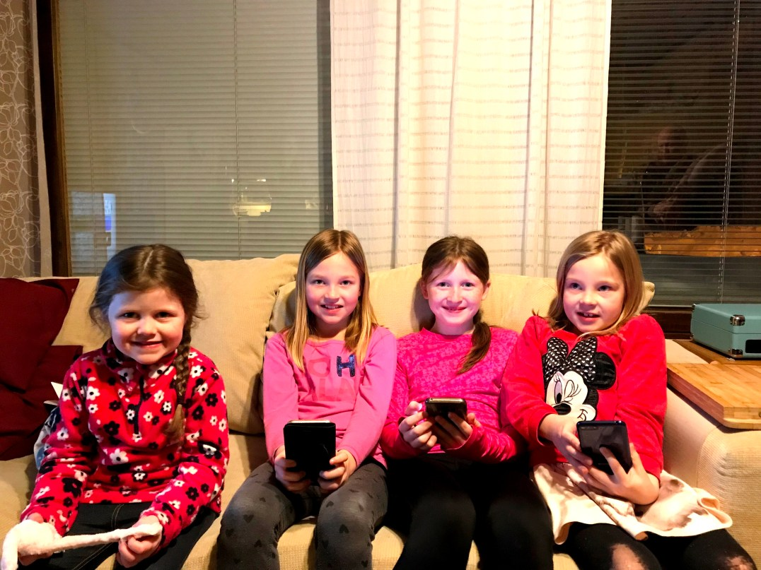 Matilda, Sara, Lily-Belle and Sofia in Rovaniemi, Finnish Lapland