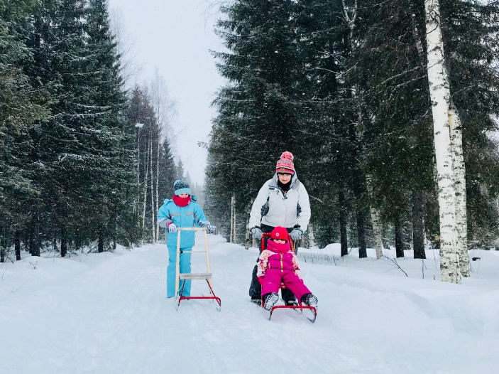 Kick sleds at A Cosy Cottage by the River in Rovaniemi