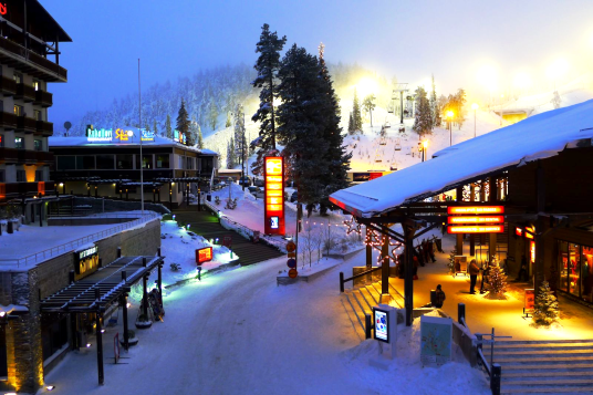 The main square at Ruka Village in Finnish Lapland