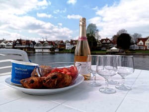 Champagne and strawberries on board the Le Boat Crusader in Henley-on-Thames