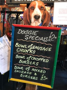 Daily doggie specials at The Bounty pub on the River Thames