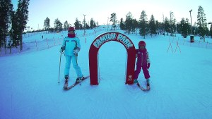 Skiing at Rosa and Rudolph Family Park in Ruka, Finnish Lapland
