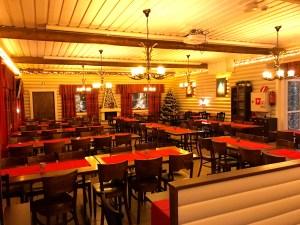 Dining at the restaurant in Santa Claus Holiday Village, Rovaniemi
