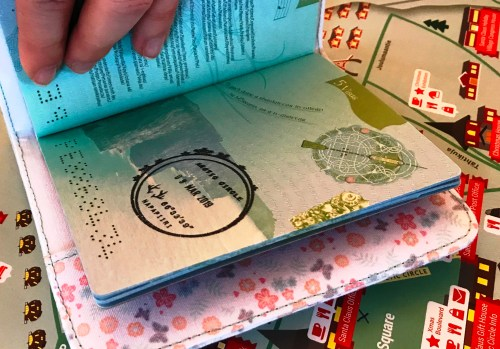 Passports stamped at the Santa Claus Village in Rovaniemi, Finnish Lapland