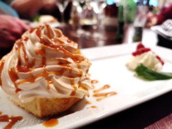 Baked Alaska dessert at Cox's Steakhouse in Roosky by the River Shannon
